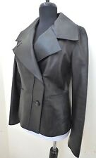 LUXURY COLE HAAN SOFT LAMBSKIN MOTORCYCLE BLACK LEATHER JACKET WOMEN'S USA SZ. 4