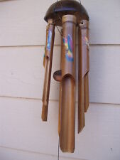 Bamboo Wind Chimes Painted Flying Hummingbirds Half Coco Top FREE SHIP