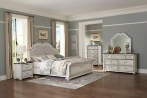 Details about 4 PC FRENCH PROVINCIAL STYLE ANTIQUE WHITE KING NS DRESSER  BED BEDROOM SET