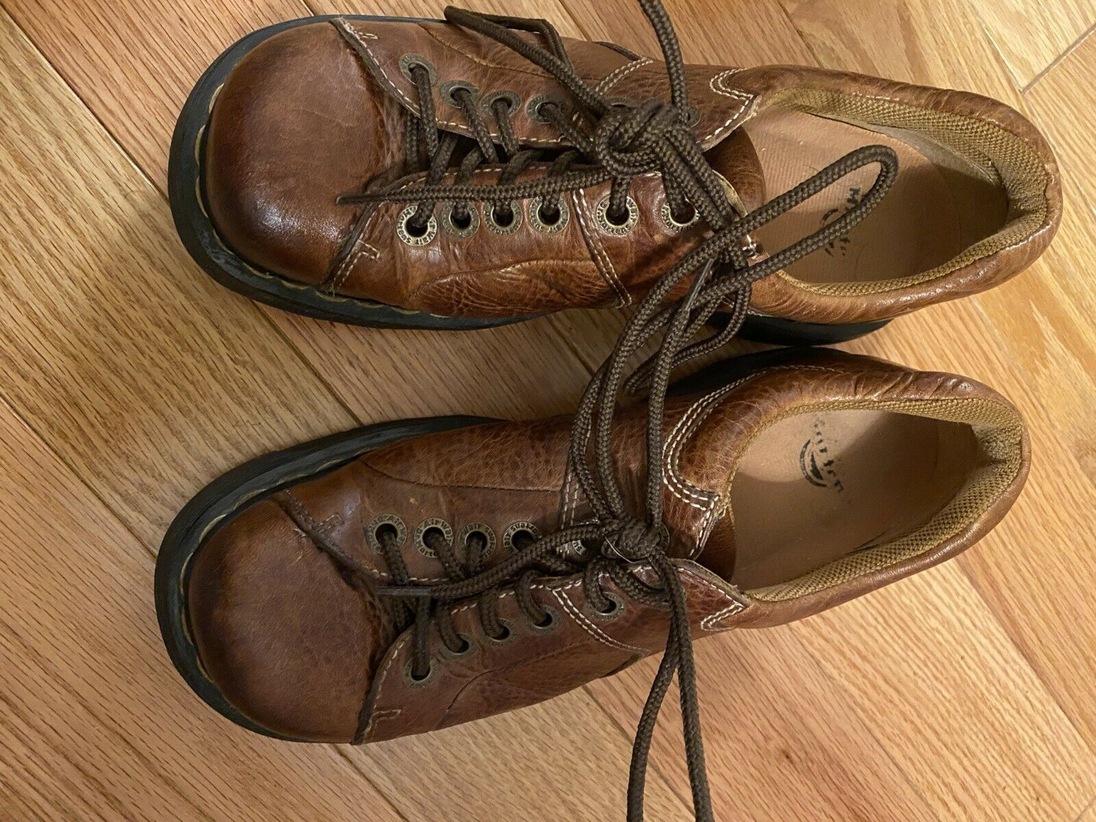 Doc Martens 9A95 Eur39 Mens 7M Ladies 8M Brown Leather Oxfords Thick Clunky Fun