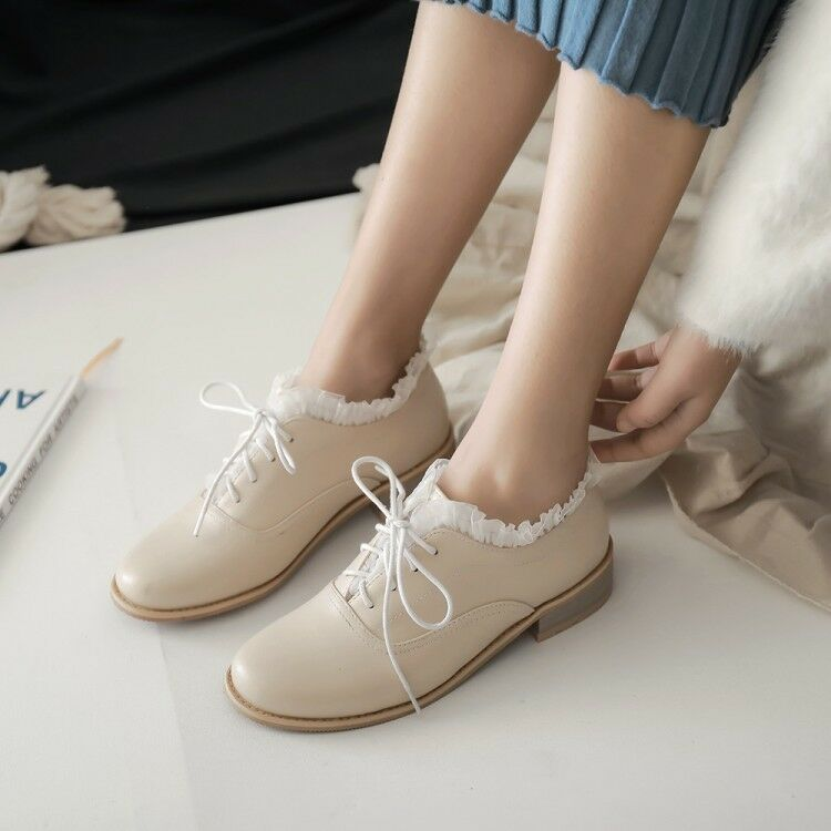 UK Women Flats Lace up Casual Round Toe Oxfords Lace Low Top shoes Pumps Loafers