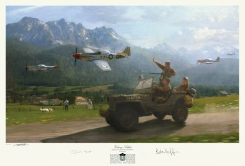 Matt Hall Print Autographed by Band of Brothers vets Babe Heffron /& Clancy Lyall