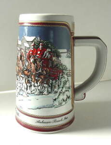 1989-Budweiser-Holiday-Beer-Stein-8-Horse-Hitched-Clydesdale-Team-Collector-Mug