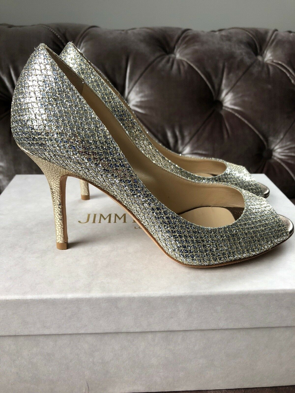 Jimmy Choo 'Evelyn' Champagne Silber Glitter Heels Peep Toe Pump Uk 3 Eu 36