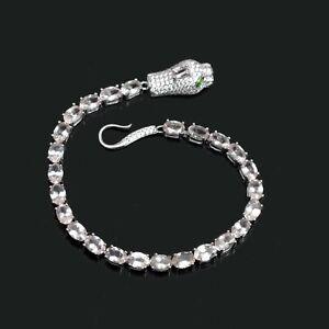 Sterling-Silver-925-Genuine-Natural-Gemstone-Oval-Cut-Morganite-Snake-Bracelet