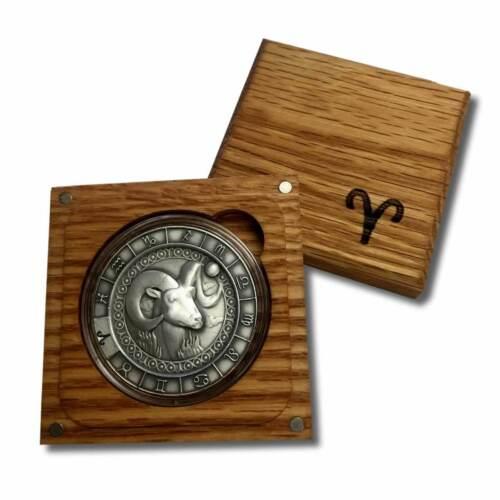 1 oz In a Solid Oak Box Aries 999 Fine Silver High Relief Zodiac Round
