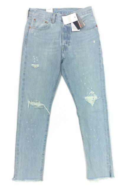 9b2e4ba8d26 NEW Levis 501S Skinny Womens Selvedge Button Fly Denim Light Blue Jeans 25  26 28