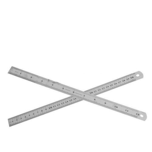 "30CM 12 /""Stahl Edelstahl TOOL metrische Metall Lineal Messung doppelseitig NEU"