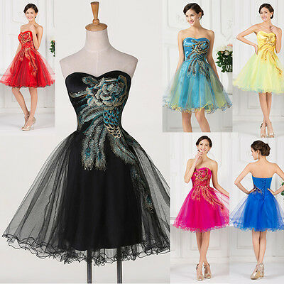 RED BLUE VICTORIAN Peacock Bridesmaid Short Evening Prom Gown Party Dress PLUS