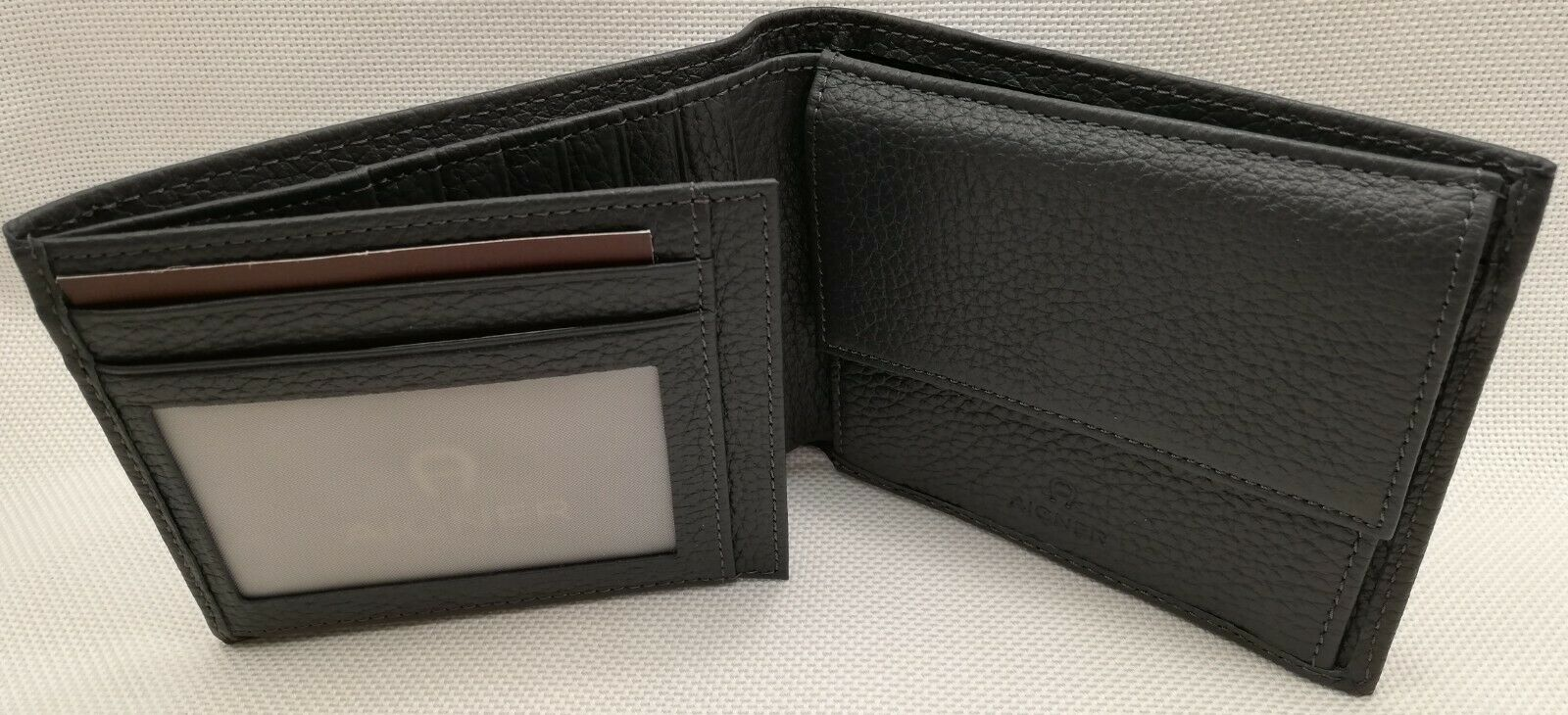 Aigner Herren Geldbörse Portemonnaie Leder grau schwarz - große Kombigeldbörse