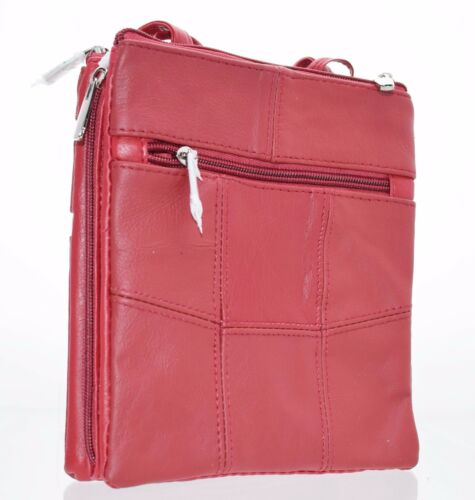 Ladies Genuine Leather Crossbody Bag//Shoulder Bag 3 Separate Zippe Compartments