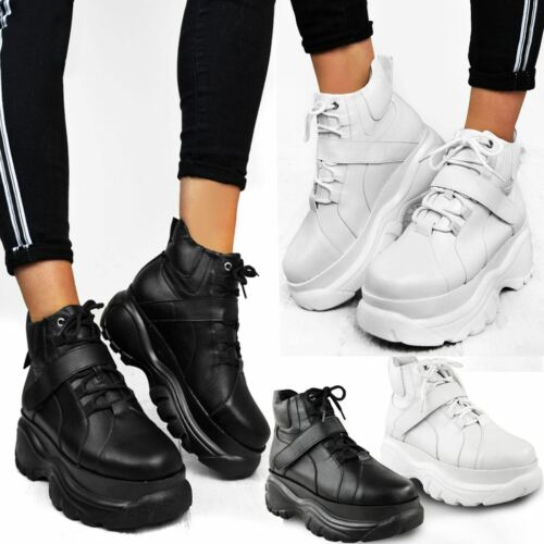 Womens Ladies High Platform Trainers Sneakers Retro Boots Wedge Hi Top Punk Goth