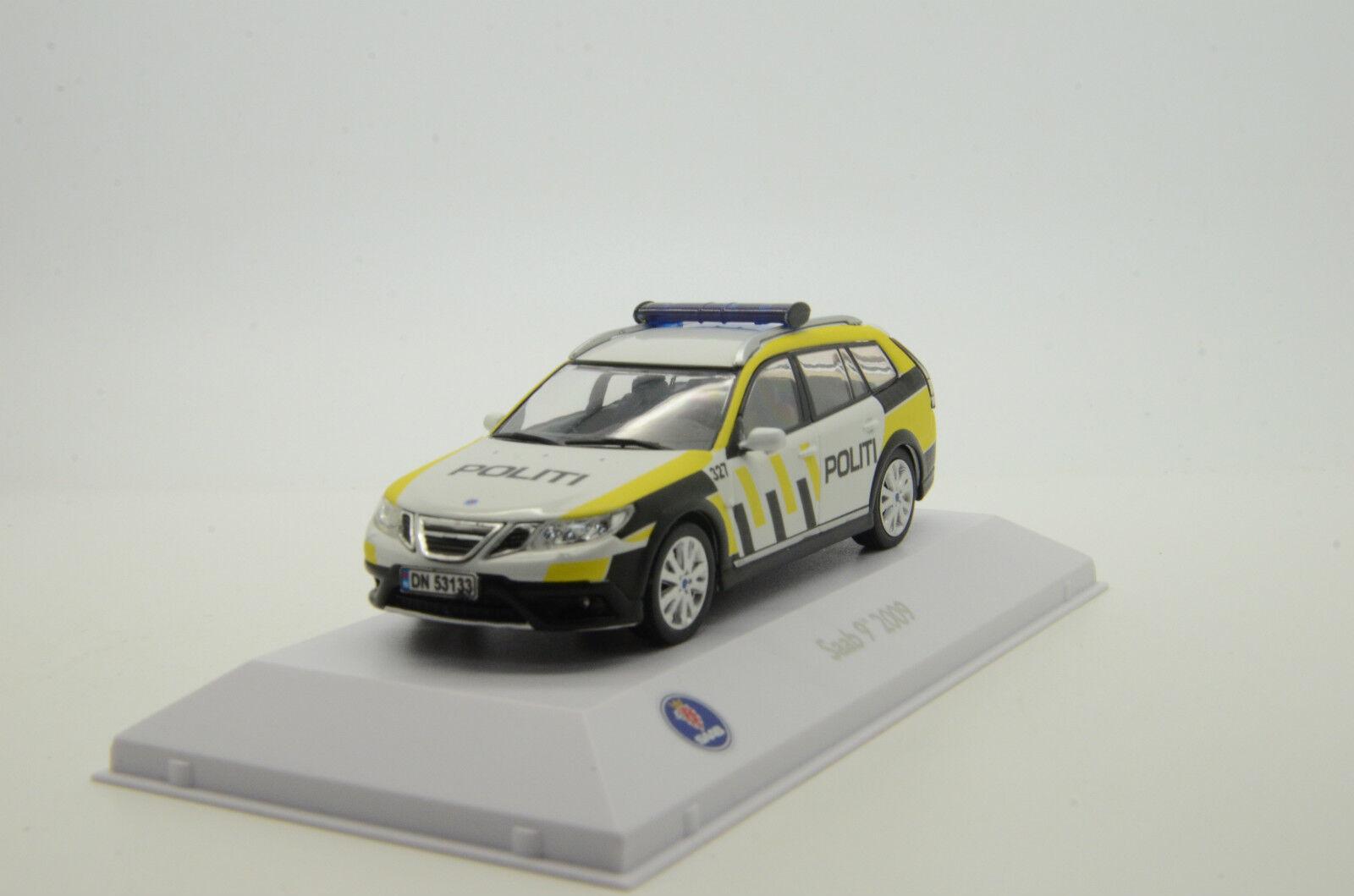 RARE  Saab 9-3x 2009 NEW Norway Politi Police Custom Made 1/43