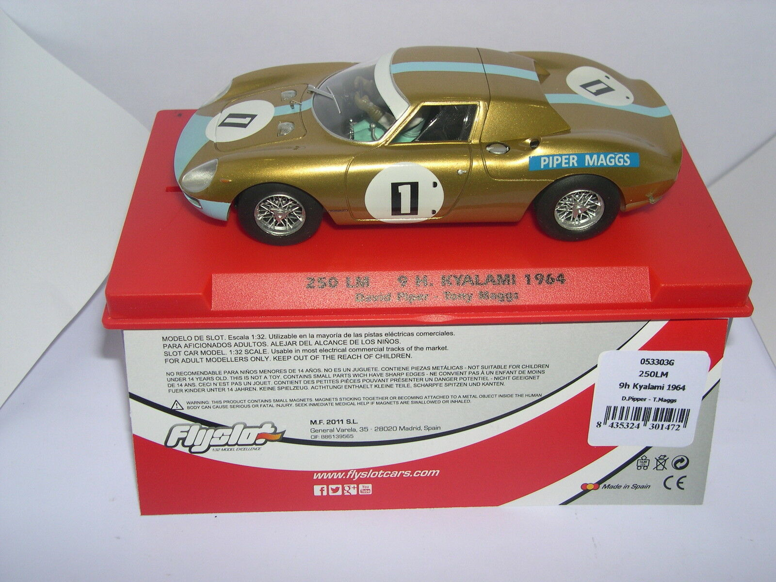 FLY FLYSLOT 1880.2oz SLOT CAR FERRARI 250LM  1 KYALAMI 1964 20UNITS LTED
