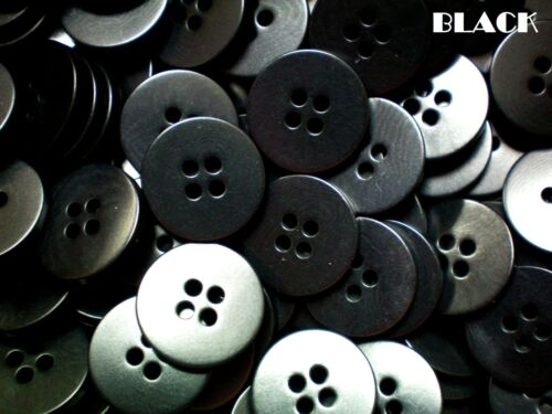 18mm Black Size 28L 4 Hole Buttons Craft Sewing Knitting Scrap Booking W127