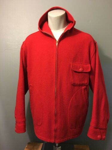 Vintage 40s 50s Woolrich Red Wool Hunting Zip-Up … - image 1