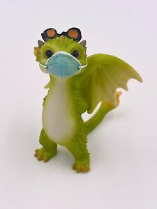 "3"" Resin Miniature Dragon Dinosaur Figurine Pandemic Face Mask Great Gift"