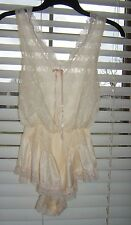 Vtg 80s Sheer Ivory Teddy Romper S Blouson Bodice With Lace Overlay by Tosca