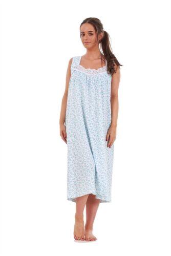 Ladies Nightwear Floral Print 100/% Cotton Sleeveless Long Nightdress M to XXXL
