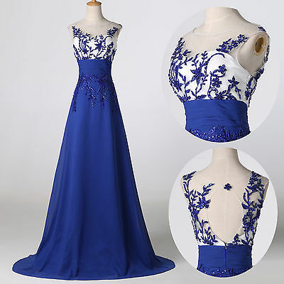 2015 Applique Designer Lace Graduation Cocktail Bridesmaid Long Prom Dress PLUS+