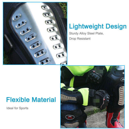 4pc Adult Motorcycle Stainless Steel Knee Shin Armor Bike Protector Guard Pads