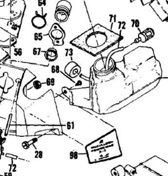 Fuel Gas Line In Tank Filter Mcculloch 390 2 1 355 365 375 Chainsaw