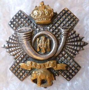 VINTAGE-Highland-Light-Infantry-Officers-Cap-Badge-SILVER-amp-Brass-ANTIQUE-Origin