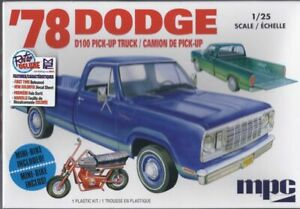 Dodge-D100-Pick-Up-Truck-1978-With-Minibike-Plastic-Kit-Model-Car-1-25-MPC