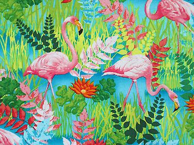 FLAMINGOS BIRDS  BRIGHT ISLAND COTTON FABRIC 7 1/2 x 44 Inch Scrap Piece