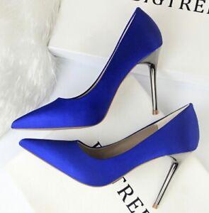 antipatia fagioli sprecare  decolte scarpe eleganti blu elettrico tacco 10 stiletto pelle sintetica  CW054 | eBay