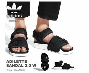 Detalles de Nuevas Adidas Adilette Sandalias para mujer Negro/blanco,  zapatillas de moda AC8583- ver título original