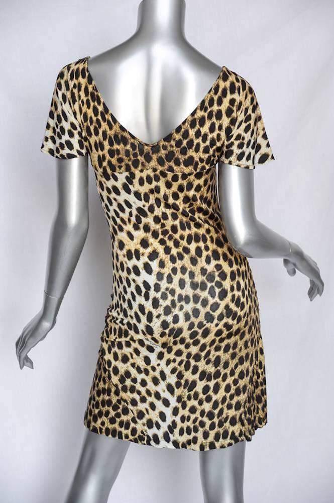 JUST CAVALLI Womens Womens Womens Brown Tan Leopard Print Short-Sleeve Ruched Dress XS NEW c6432f