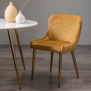 Cezanne - Pair of Mustard Velvet Fabric Chairs with Matt Gold Plated Legs