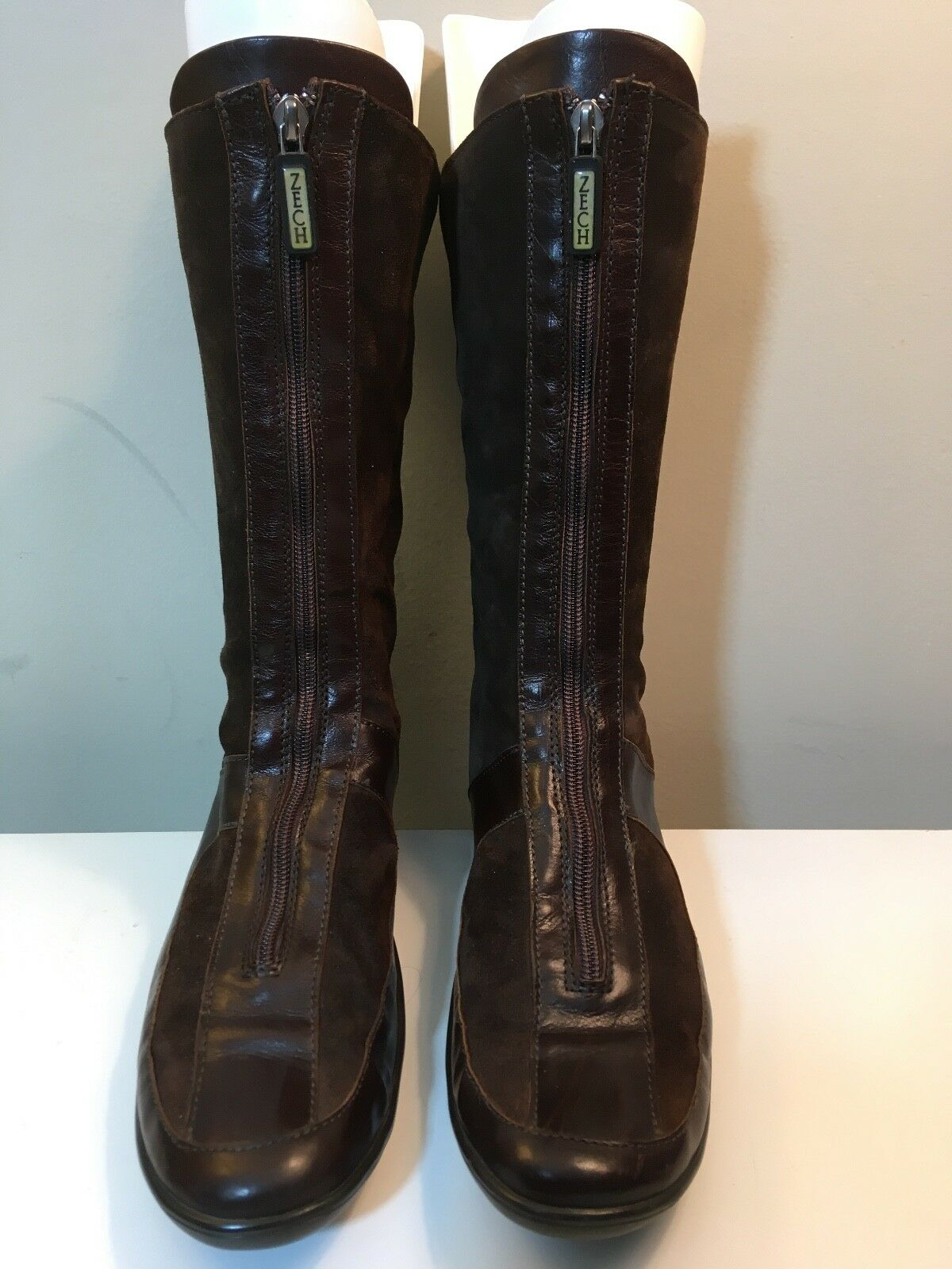 Women's Richard Zech Brown Suede Leather Lined Front Zip Boots Size 39.5