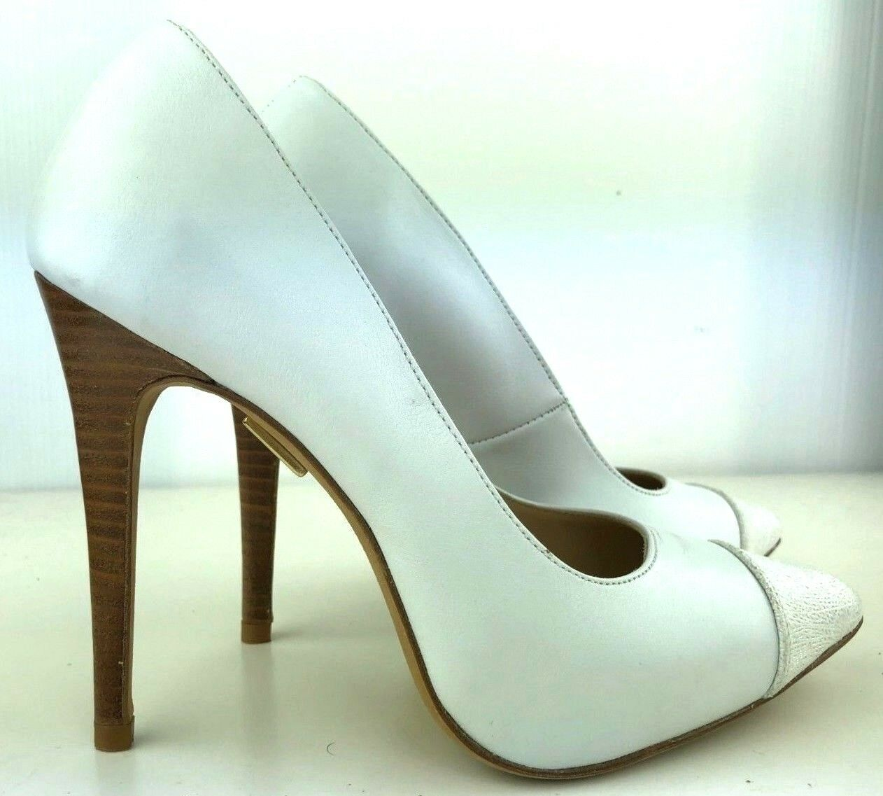 PUMPS ITALY HIGH HIGH HIGH HEELS POINTY TOE zapatos LEATHER DECOLTE SEXY blancoo BIANCO 37  exclusivo