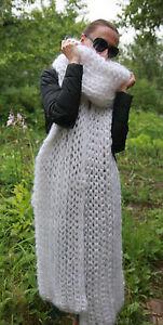 5 strands Premium Longhair Mohair LONG SCARF hand knit Brown Men Women
