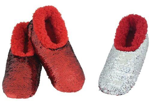 Snoozies Womens Classic Slipper Socks Reversible Sequin Bling RED Medium 7//8