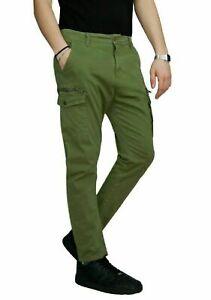 Pantaloni-uomo-Cargo-Lunghi-Slim-Fit-Tasconi-Invernale-Elasticizzato-Verde