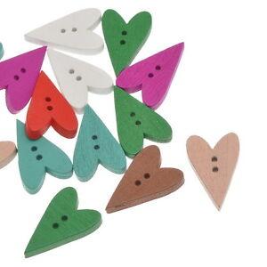 100-Misto-Bottone-Bottoni-In-Legno-Cuore-Colorati-23-5mm-x15mm