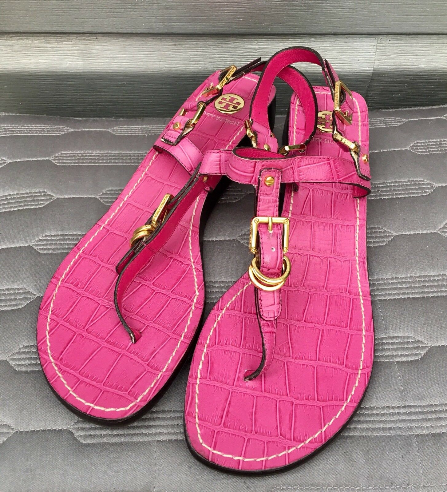 TORY BURCH Pink Thong Crocodile Leather Kitten Wedge Sandals
