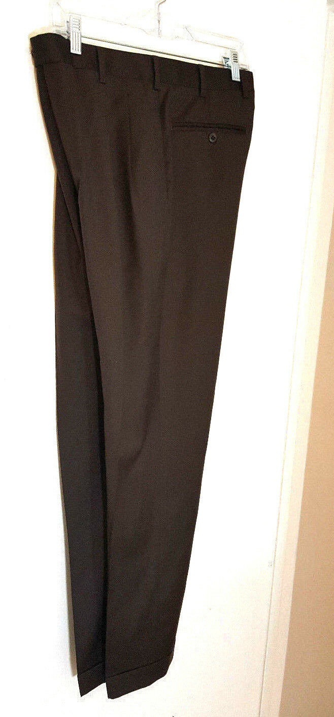 ZANELLA Mens Dress Pants 32x30 Brown 100% wool Pleated front with cuffs solid