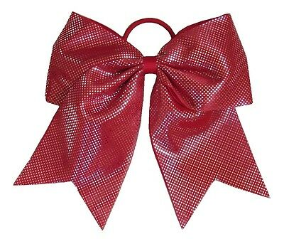 """NEW /""""SPARKLE DOTS Red/"""" Cheer Bow Pony Tail 3 Inch Ribbon Hair Bows Cheerleading"""