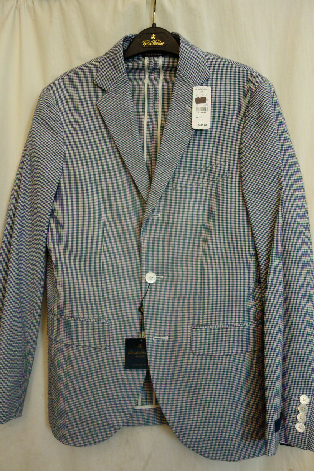 3f23c3e0bc Brooks Bredhers 1818 Milano Navy White Cotton Sport Coat 36R MSRP NWT  ookcjb11084-Suits & Tailoring