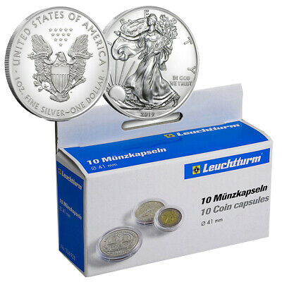 10 CAPS CAPSULES   Direct Fit  41 mm     AMERICAN SILVER EAGLES  by  LIGHTHOUSE