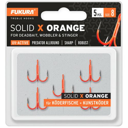 Hechthaken Drillingshaken für Kunstköder Fukura Solid X Orange Drillinge