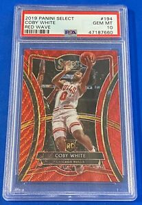 2019-Panini-Select-Coby-White-Red-Wave-RC-194-PSA-10-GEM-Pop-2-Premier-Bulls