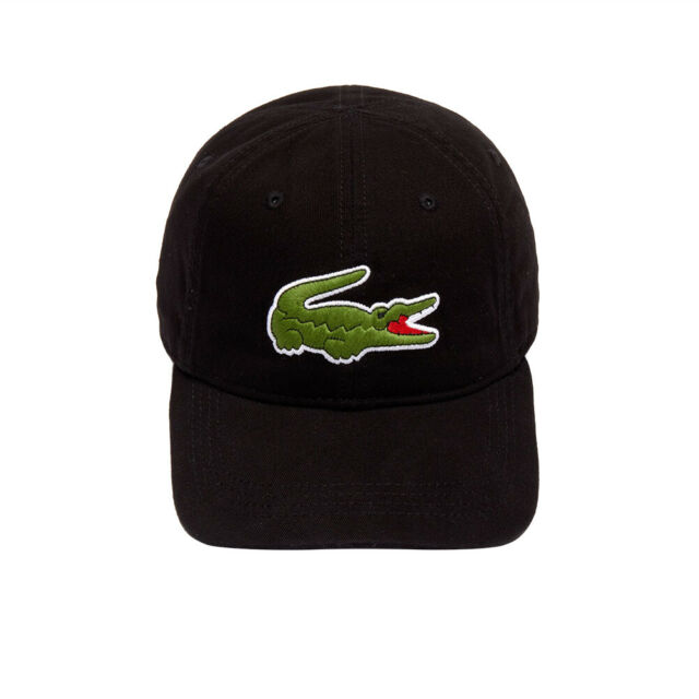 1558b727a Lacoste Men's Large Croc Cap Sport Baseball Hat Cotton Gabardine Black