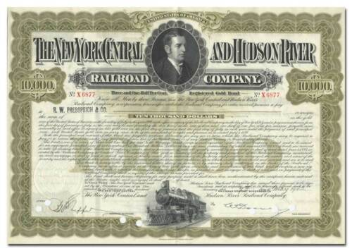 New York Central /& Hudson River Railroad Company Bond Certificate