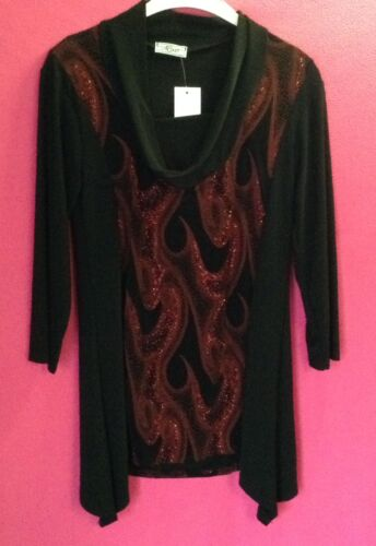 NEW LADIES BLACK WITH BLUE GLITTER SPARKLY FRONT LONG TOP COWL NECK TUNIC*LAST 1