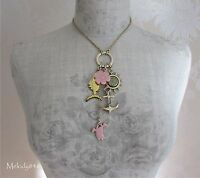 Vintage Pilgrim Necklace Gold/pink Crazy Charm Flower Anchor Fish Ghost